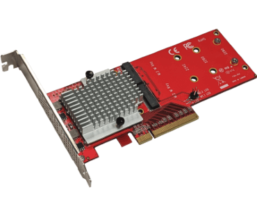 Dual NVMe PCIe adapter (Model: AD2M2NVMPX8)