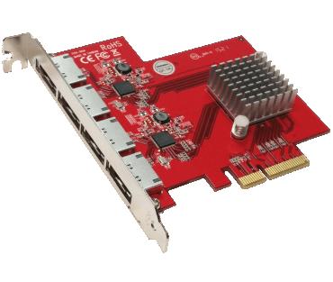4-Port eSATA 6G PCIe 4X controller (model: AD4ES6GPX)